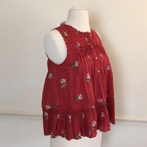 Ulla Johnson Red Swiss dot sleeveless top floral 0